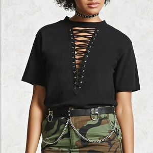 NWOT Forever 21 lace up black tee